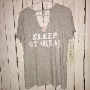 NWT 💤 VS PINK 💤 sleep it real top gray SMaLL